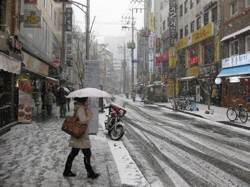 韓国冬の道路
